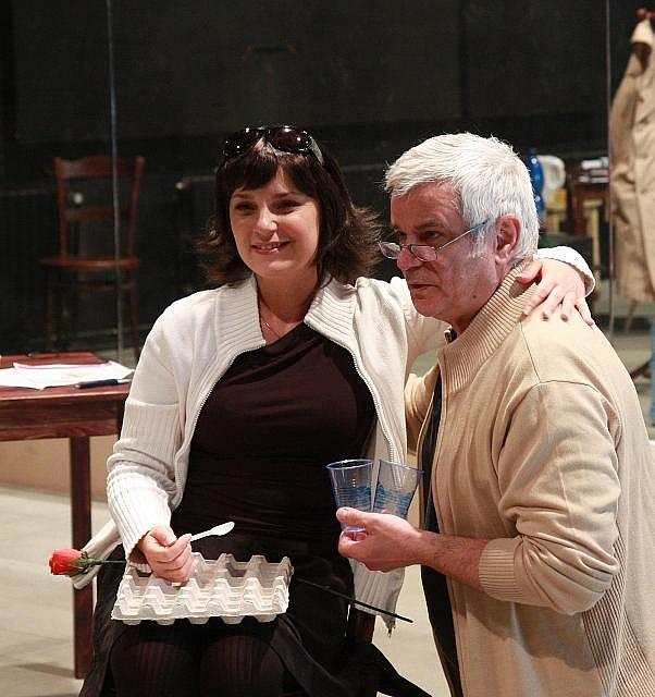 Herci Petr Štěpánek a Zuzana Dřízhalová při zkoušce hry Columbo-Vražda na recept v pražském Divadle Broadway
