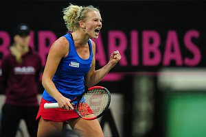 Tenisové finále FedCupu mezi Českou republikou a USA 11. listopadu v Praze. Kateřina Siniaková.