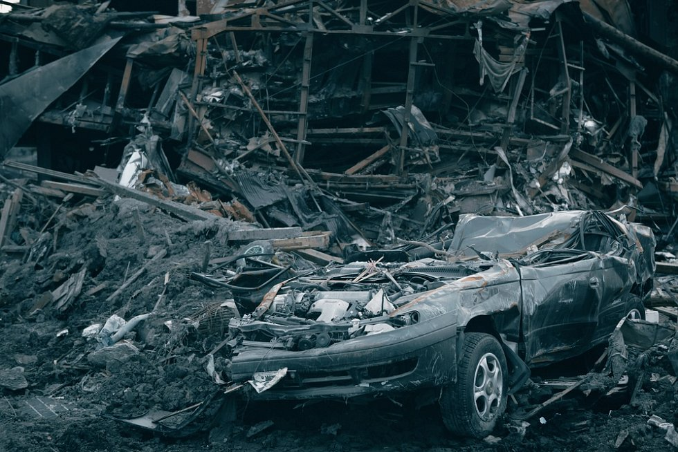 Následky Tsunami v japonském městě Fukušima.