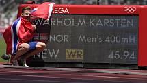 Nor Karsten Warholm vytvořil v olympijském finále běhu na 400 metrů překážek světový rekord.