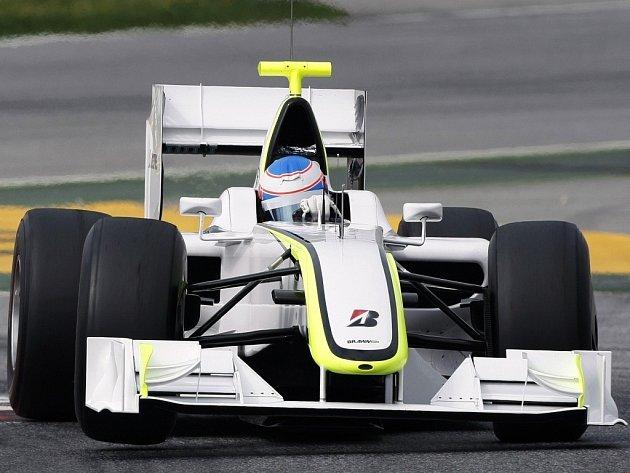 Jenson Button při testech monopostu formule 1 Brawn GP.