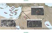 Výzkumné centrumBarzah nedaleko Damašku zasáhlo 76raket.Lokalitu Him Šinšar, skladiště chemických látek nedalekoHomsu zasáhlo 22raket a bunker vtéže lokalitě schemickými látkami zasáhlo 7raket.
