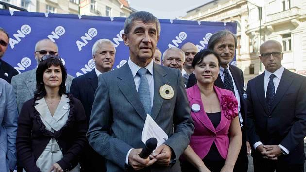Volební lídři hnutí ANO v čele s Andrejem Babišem.