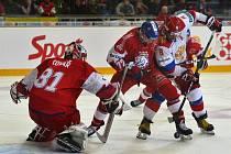 Utkání hokejového turnaje Carlson Hockey Games série Euro Hockey Tour mezi týmy ČR a Ruska.