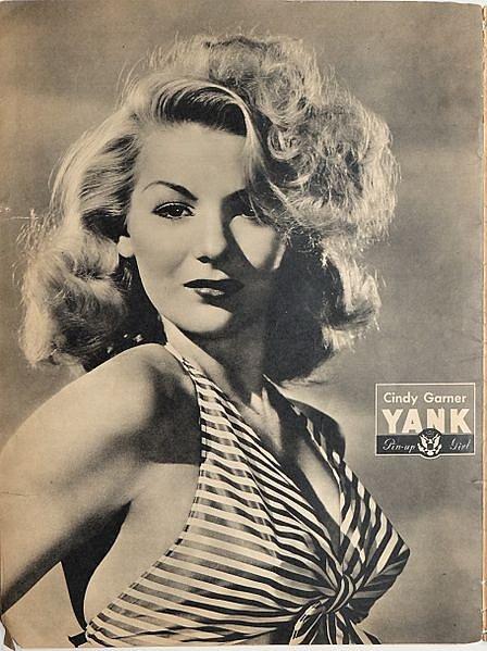 """Herečka Cindy Garnerová jako """"pin-up girl"""" na obálce amerického amrádního týdeníku Yank z dubna 1945."""