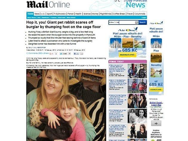 Článek britského deníku Daily Mail