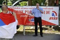 Mítink Dělnické strany sociální spravedlnosti za účasti předsedy Tomáše Vandase.