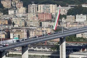 Slavnostní otevření nového nového dálničního mostu v italském Janově, 3. srpna 2020
