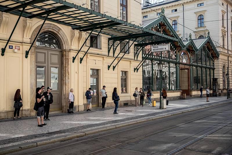 Pražské Masarykovo nádraží 13. srpna.
