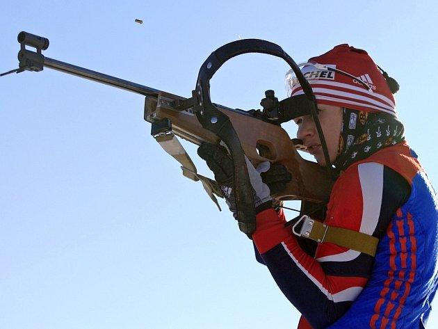 Ruská biatlonistka Olga Pylevová při tréninku.