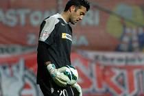 Brankář Radek Petr ze Zbrojovky Brno poté co se Boleslav ujala vedení 1:0.