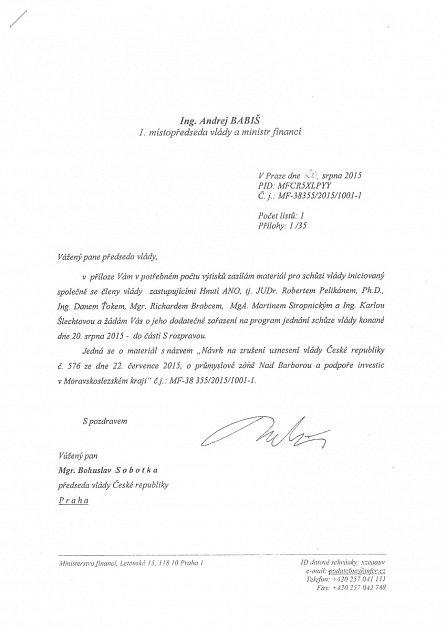 Dopis premiérovi