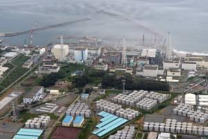 Pohled na areál jaderné elektrárny Fukušima