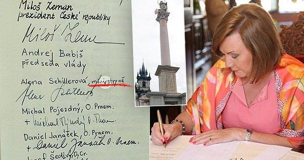 Ohlas vzbudila také hrubka ve slově ministryně u podpisu Aleny Schillerové. Podobně se internet bavil jinou hrubkou středočeské hejtmanky Jermanové