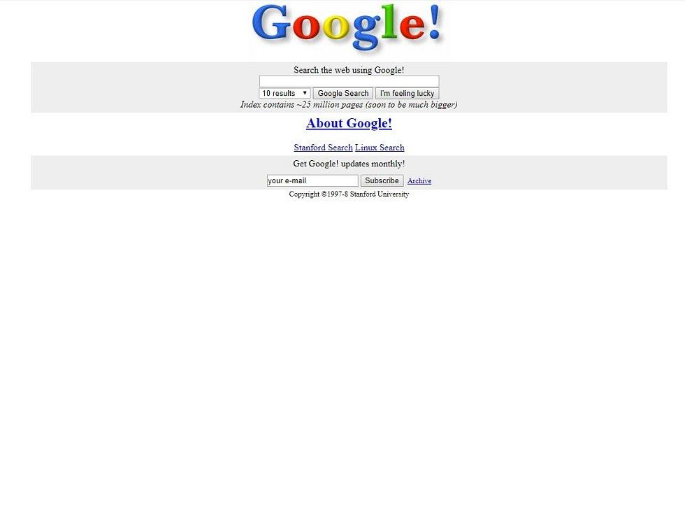 Podoba první verze Googlu z roku 1998.