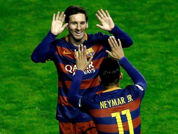 Lionel Messi a jeho radost z výhry Barcelony