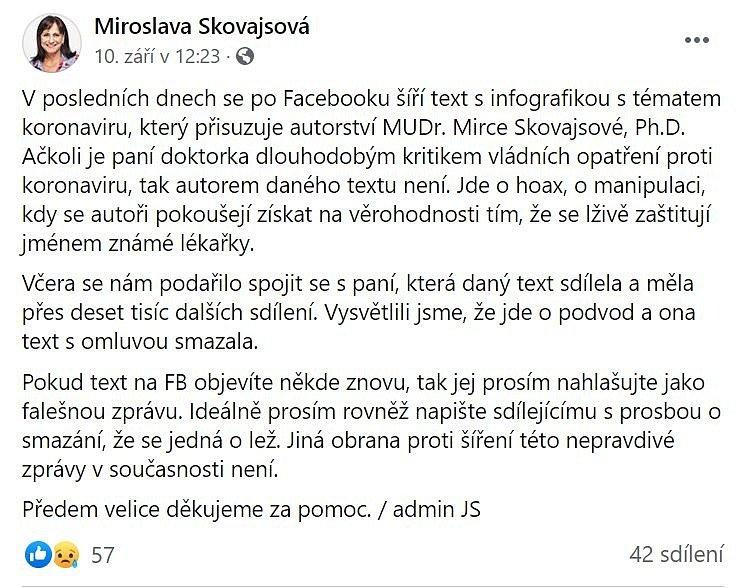 Miroslava Skovajsová uvedla na své facebookové stránce věc na pravou míru, její příspěvek se však sdílel podstatně méně než původní lež
