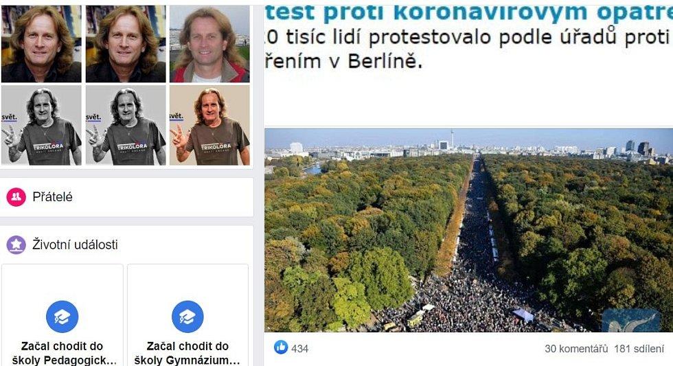 Snímek z demonstrace staré dva roky sdílel člen Trikolóry Petr Štěpánek v souvislosti s protesty, které probíhaly v Berlíně o uplynulém víkendu