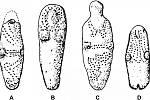 Nákresy hliněných sošek objevených na území USA. Tečkování podle Gillreatha‑Browna znázorňuje tetování.