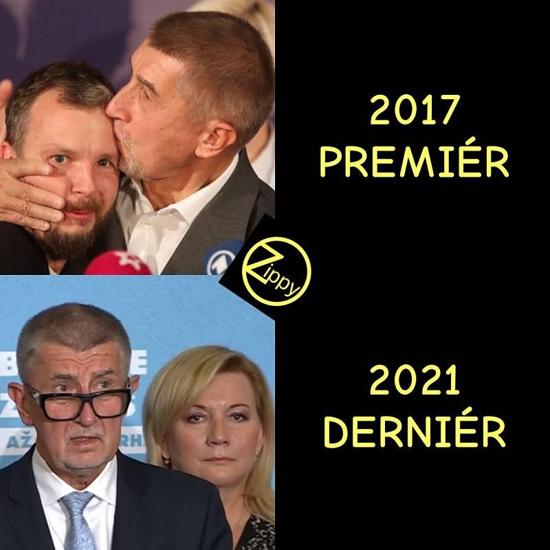 Andrej Babiš po vítězných a po prohraných volbách