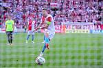 Fotbalové utkání Fortuna ligy mezi celky SK Slavia Praha  a MFK Karviná 28. července v Praze. Milan Škoda střílí branku z penalty.