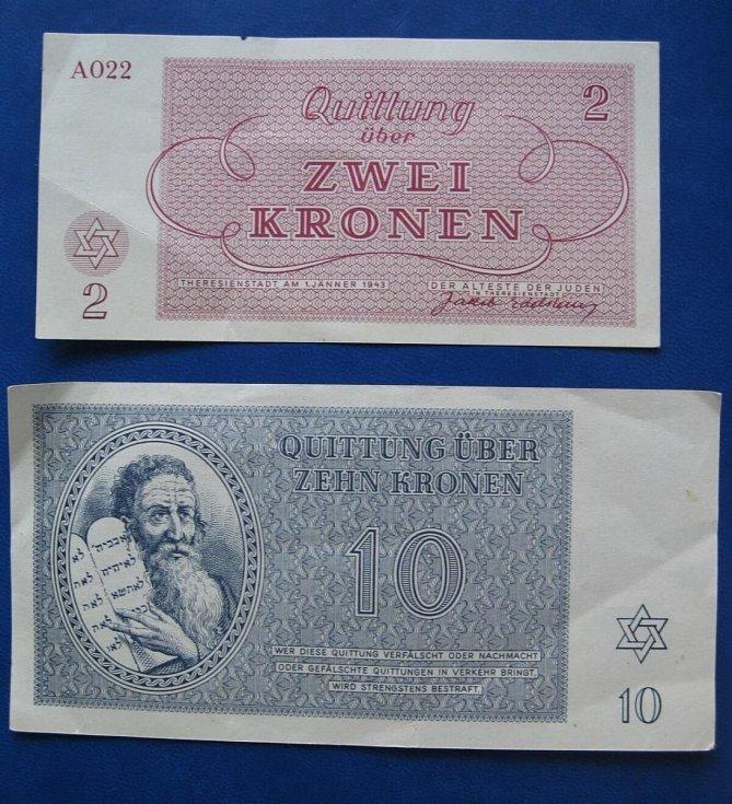 """Peníze"""", které vydala nacistická správa pro ghetto Terezín."""