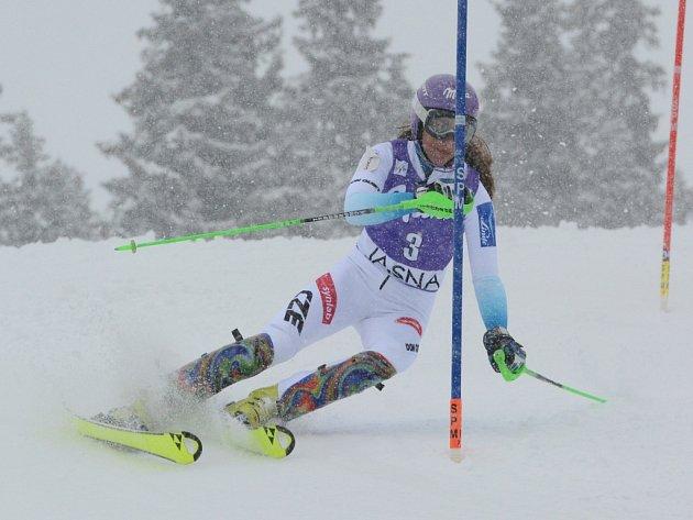 Šárka Strachová ve slalomu SP v Jasné.