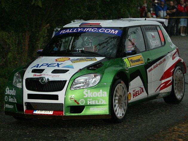 Jan Kopecký během sobotní etapy na Barum Czech Rally.