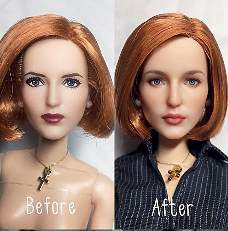 Olga ráda mění panenkám make-up vrealističtější.