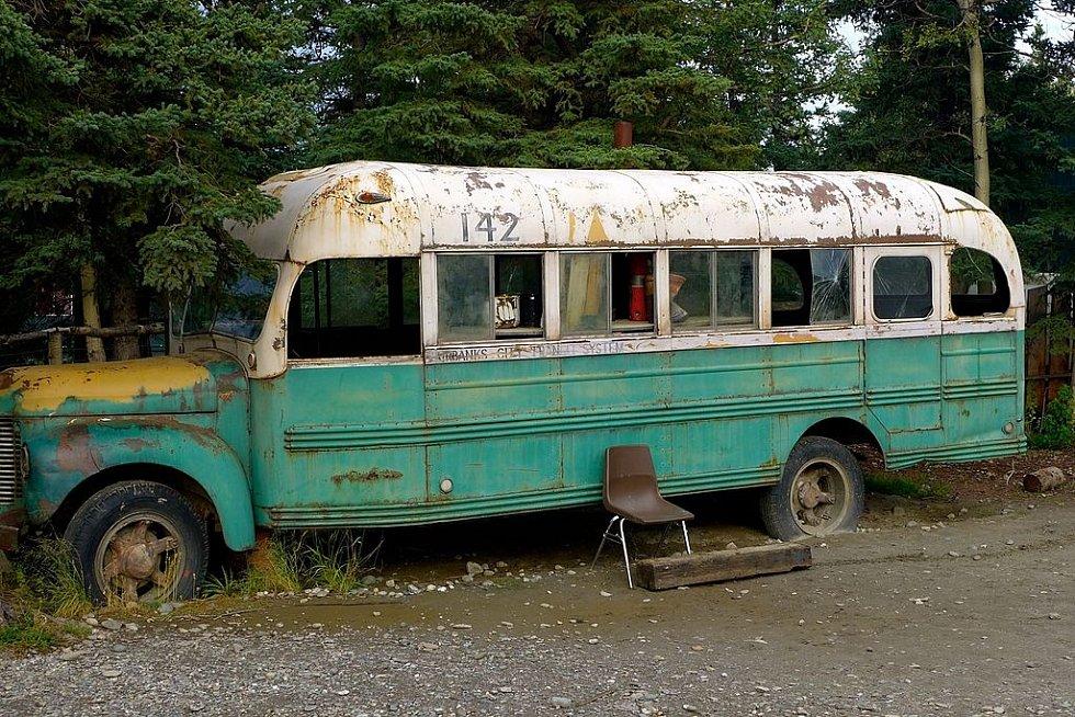 Replika magického autobusu, která byla použita při natáčení filmu Útěk do divočiny