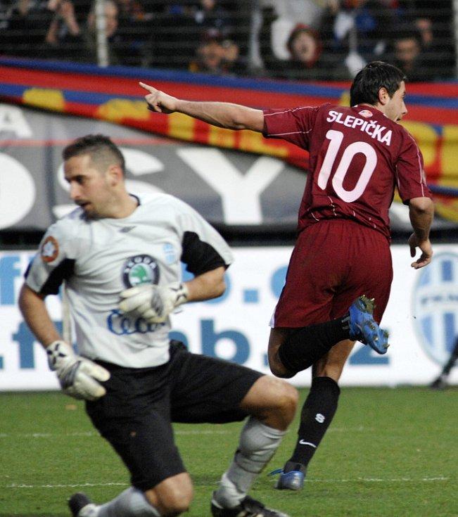 Mladá Boleslav - Sparta. Útočník Sparty Miroslav Slepička svým devátým gólem v sezoně vyrovnal na 1:1 a posunul se do čela pořadí ligových střelců.