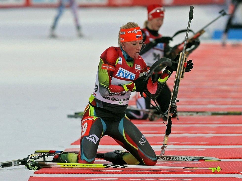 Barbora Tomešová ve sprintu MS v Novém Městě na Moravě.