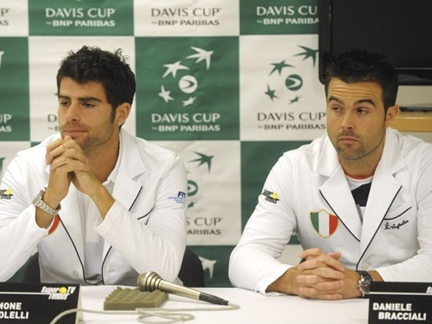 Tenisté Daniele Bracciali (vpravo) a Simone Bolelli.