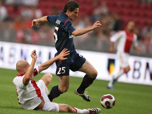 Fotbalový zápas Ajax - Slavia v Amsterodamu.