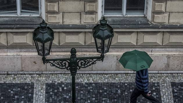 Dešťové počasí v Praze.