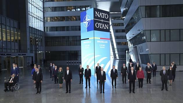 Lídři zemí na summitu NATO v Bruselu 14. června 2021. Vlevo je český prezident Miloš Zeman.