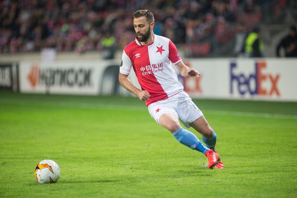 SK Slavia Praha vs. KRC Genk. Na snímku Josef Hušbauer.