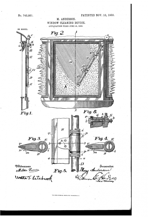 Nákres prvního stěrače z patentu američanky Mary Andersonové