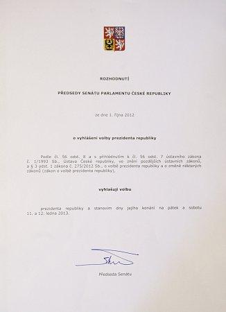 Předseda Senátu Milan Štěch vyhlásil 1.října vPraze volby prezidenta republiky na 11.a 12.ledna 2013.