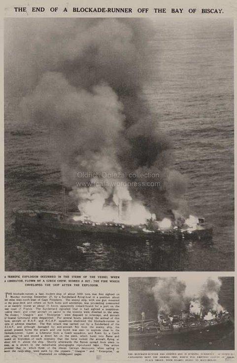 Dobové novinové články o potopení německé lodi Alsterufer českými letci