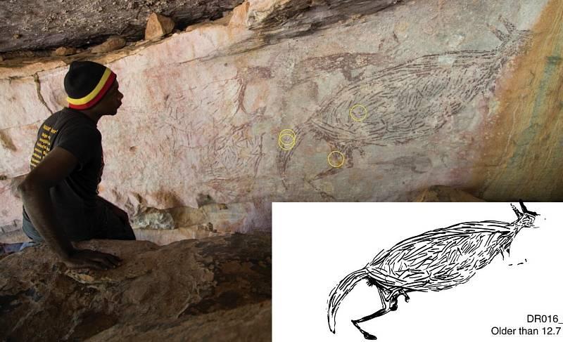 Další kresby, které vědci v australských jeskyních objevili.
