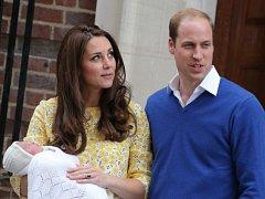 Princ William s manželkou Kate a novorozenou princeznou.