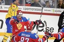 Rusové se radují z gólu Ničuškina na 3:1.