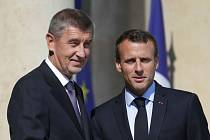 Andrej Babiš se sešel s francouzským prezidentem Emmanuelem Macronem
