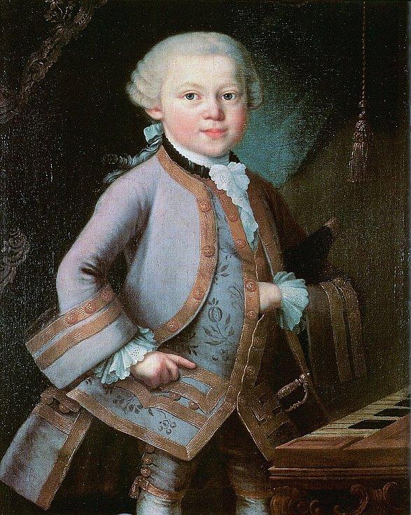 Wolfgang Amadeus Mozart jako dítě, v době, kdy koncertoval po Evropě společně se starší sestrou Nannerl.