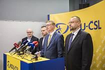 Zleva bývalý ministr kultury Daniel Herman, bývalý ministr zemědělství Marian Jurečka, předseda KDU-ČSL Pavel Bělobrádek a místopředseda strany Jan Bartošek