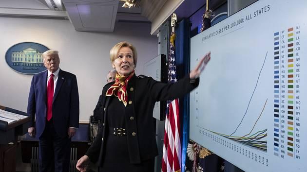 Členka krizového štábu Bílého domu Deborah Birxová a prezident Donald Trump na tiskové konferenci ke koronavirové krizi 31. března 2020