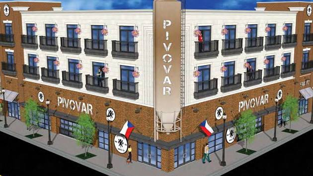 Vizualizace českého Pivovaru v texaském Waco.