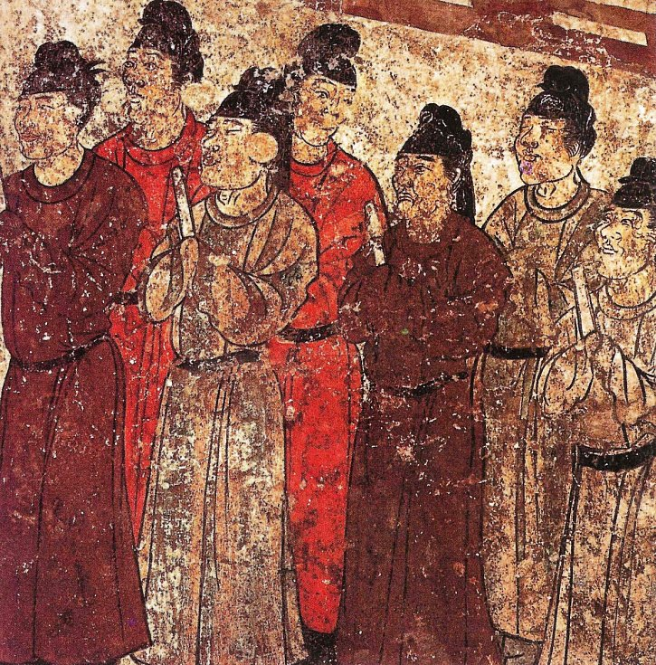 Eunuchové na nástěnné malbě v hrobce čínského prince Zhanghuai z dynastie Tang