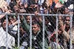 Rok 2016. Skupina 70 Pákistánců v uprchlickém zařízení na řeckém ostrově Lesbos držela protestní hladovku.
